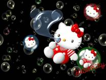 Hello Kitty haciendo pompas